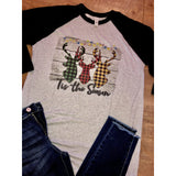 'Tis the Season Plaid Deer on Black Raglan(Fits True to Size)
