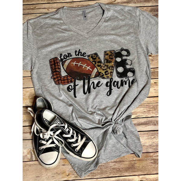 For the Love of the Game Football on Grey V Neck (True to Size)