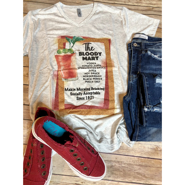 Bloody Mary on Heather White V-Neck (Fits True to Size)