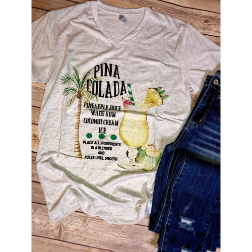Pina Colada on Heather White V-Neck (Fits True to Size)