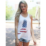 Stars & Stripes Eagle on White Racerback Tank Top (Fits True to Size)