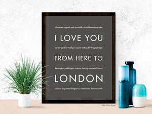 I Love You From Here to London Art Print