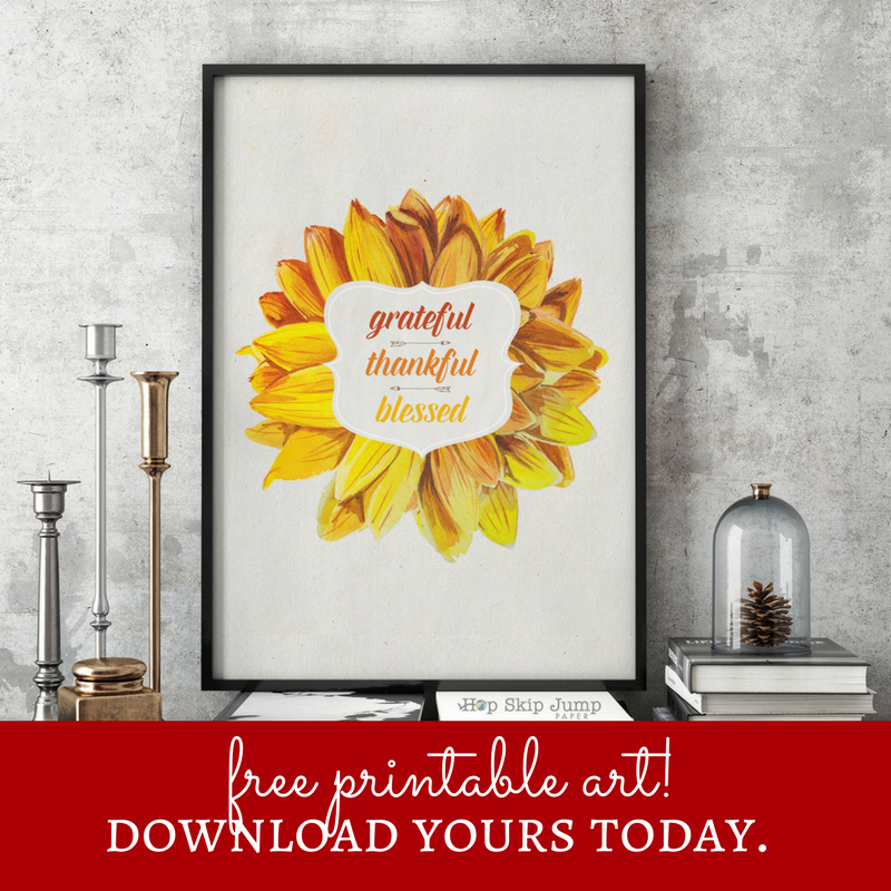 Grateful. Thankful. Blessed. - Free Printable!