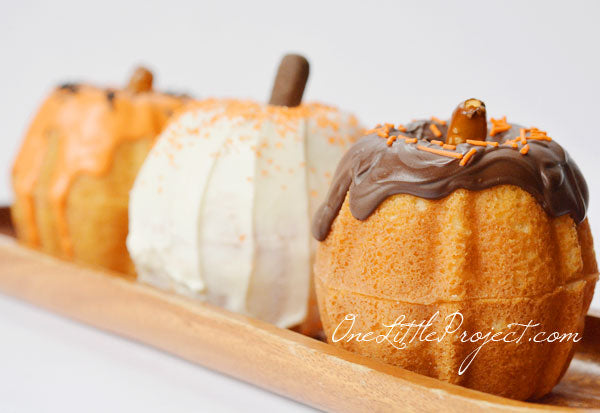 Mini Bundt Cake Pumpkins by One Little Project