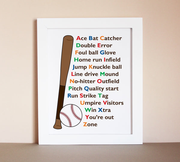 Baseball alphabet art for kids