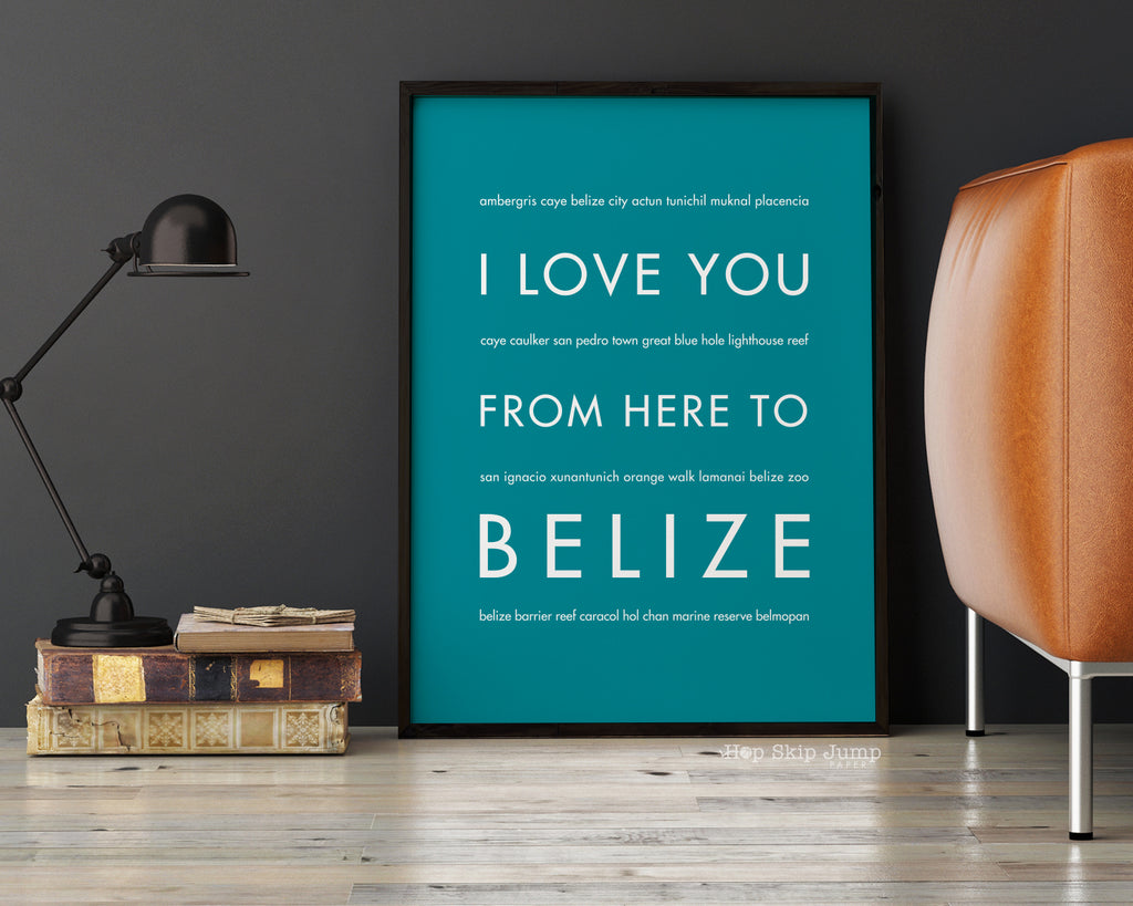 Belize travel art poster home decor from Hop Skip Jump Paper