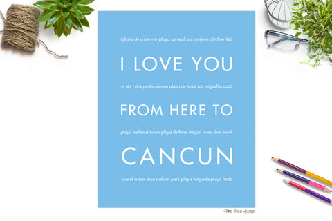 cancun spring break art print poster