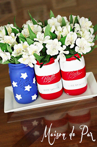 mason jars July 4th decor