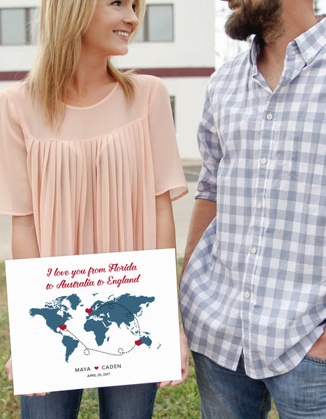 Wedding PERSONALIZED WORLD MAP SIGN - CHOOSE LOCATIONS