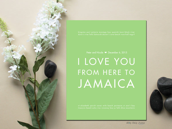 I LOVE YOU FROM HERE TO JAMAICA CUSTOM WEDDING ART PRINT