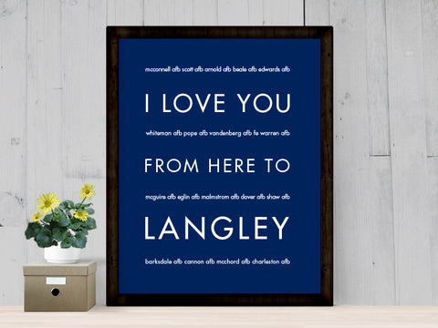 I Love You From Here To LANGLEY art print I Love You From Here To LANGLEY art print I Love You From Here To LANGLEY art print  I LOVE YOU FROM HERE TO LANGLEY ART PRINT