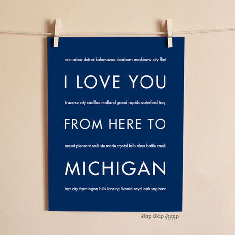 Michigan state wall poster