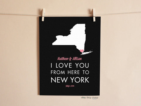 i love you from here to new york art poster