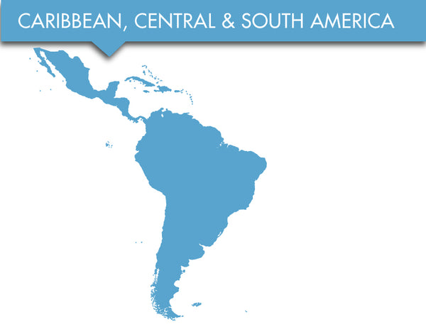 Order by location caribbean, central america, south america