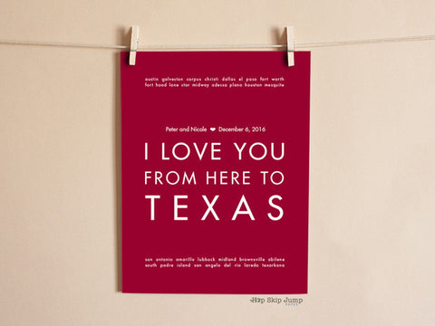 i love you from here to texas wall print
