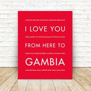 GAMBIA Travel Art | Gift Idea | HopSkipJumpPaper