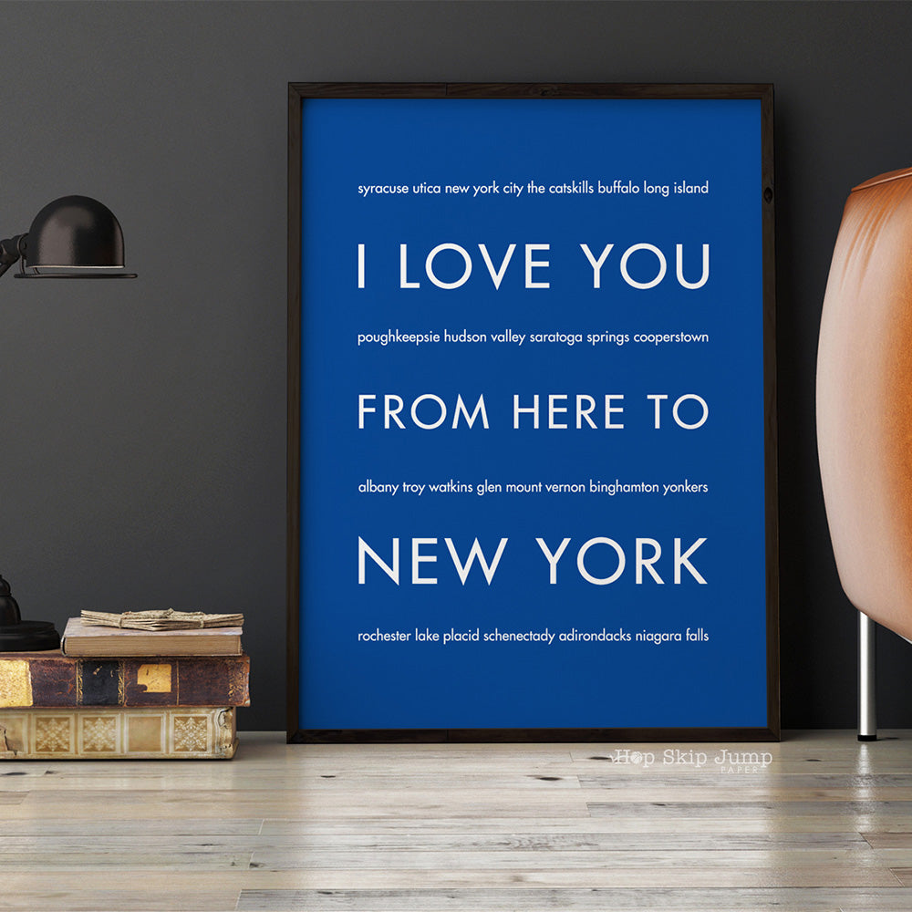 NEW YORK State Wall Poster | Gift Idea | HopSkipJumpPaper