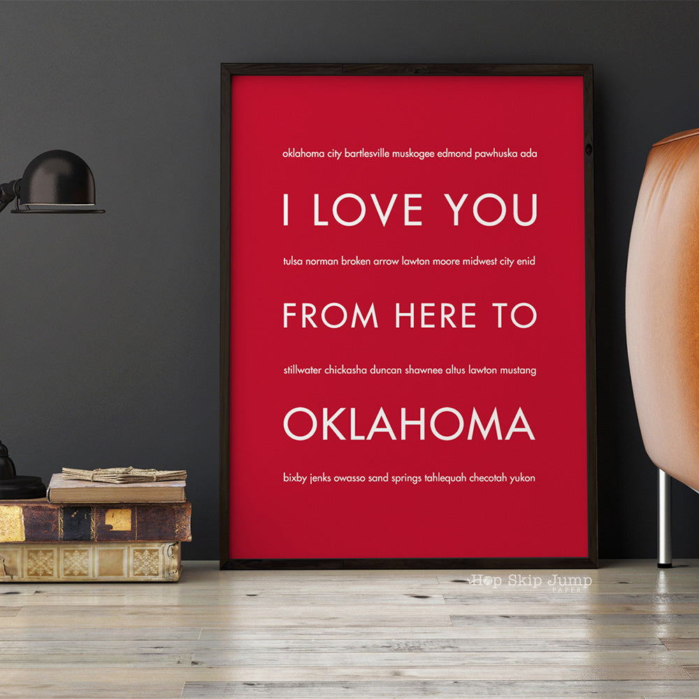 OKLAHOMA State Wall Poster | Gift Idea | HopSkipJumpPaper