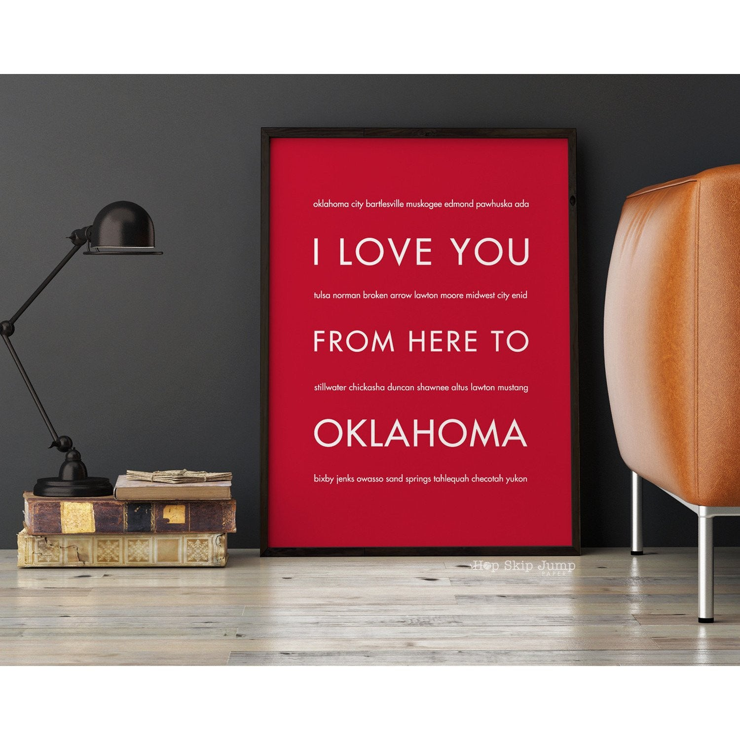 OKLAHOMA State Wall Poster | Gift Idea | HopSkipJumpPaper  - Shop Online