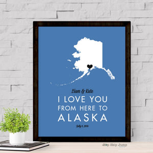 Personalized Alaska State Map Travel Poster  - Shop Online