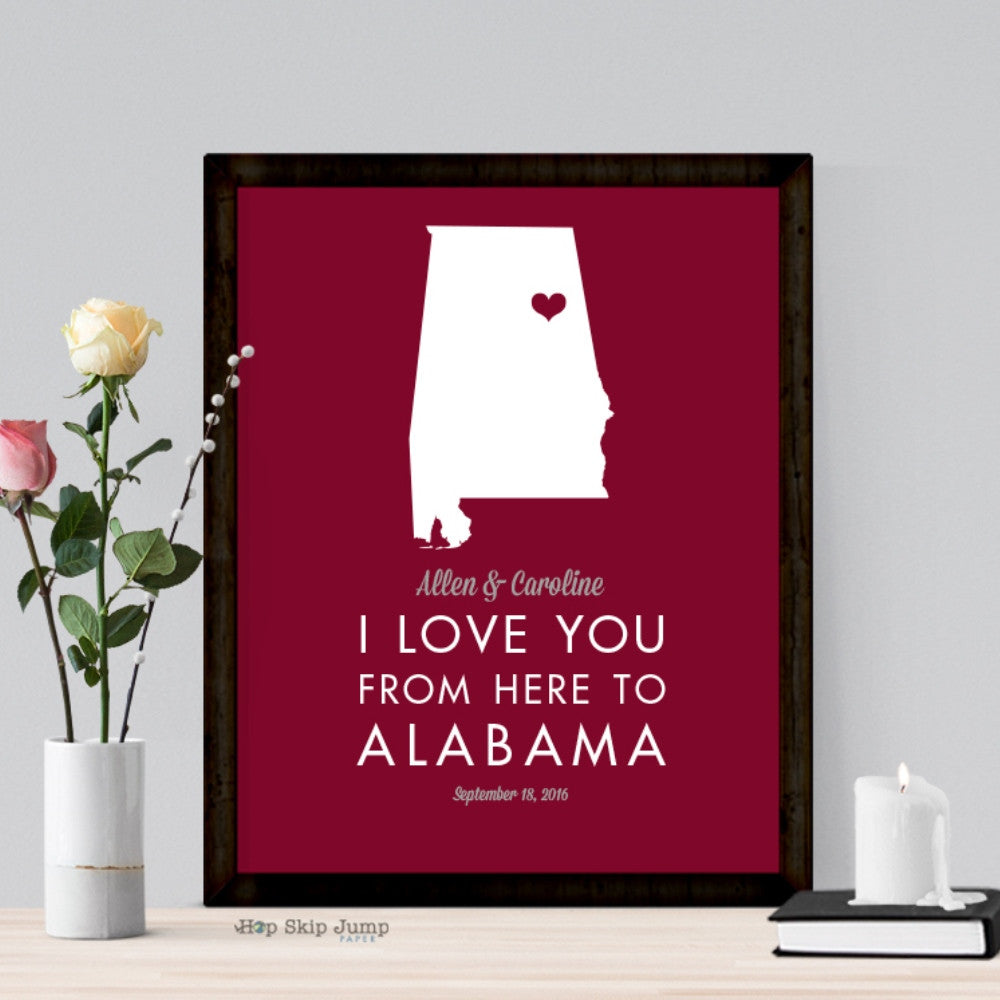 Personalized Alabama State Map Travel Poster  - Shop Online