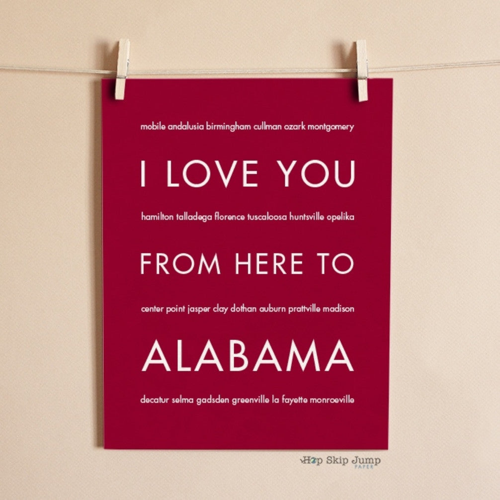 ALABAMA State Wall Art | Gift Idea | HopSkipJumpPaper  - Shop Online