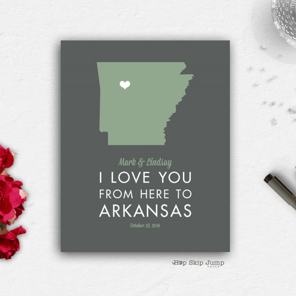 Personalized Arkansas State Map Travel Poster  - Shop Online