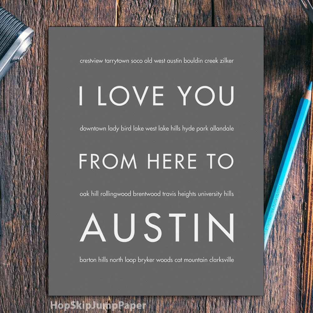 AUSTIN City Wall Art | Gift Idea | HopSkipJumpPaper  - Shop Online