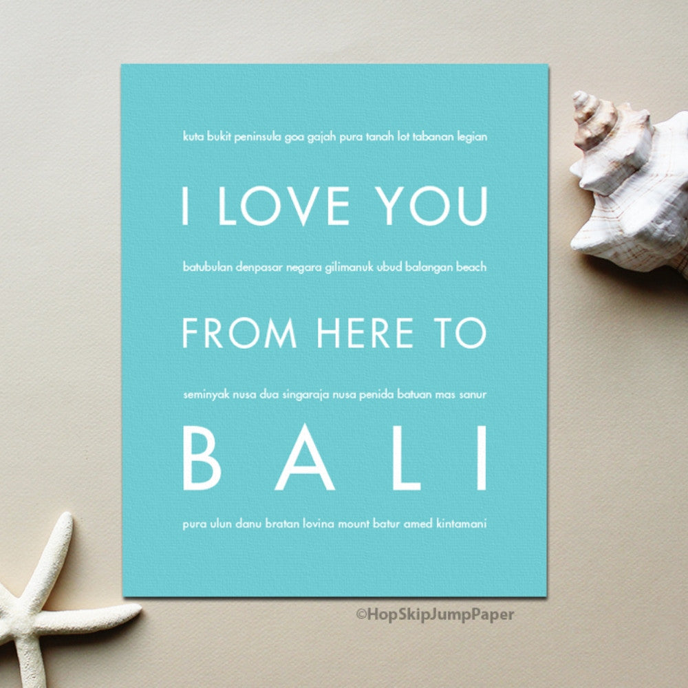 BALI Vacation Poster | Gift Idea | HopSkipJumpPaper  - Shop Online