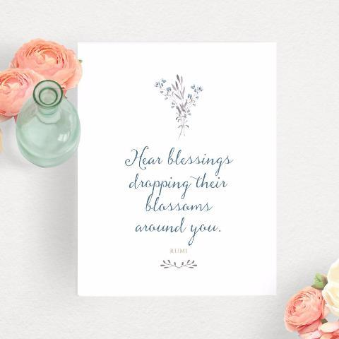 RUMI Quote Typography Art Print - Blessings Dropping Their Blossoms - Digital Download Available!