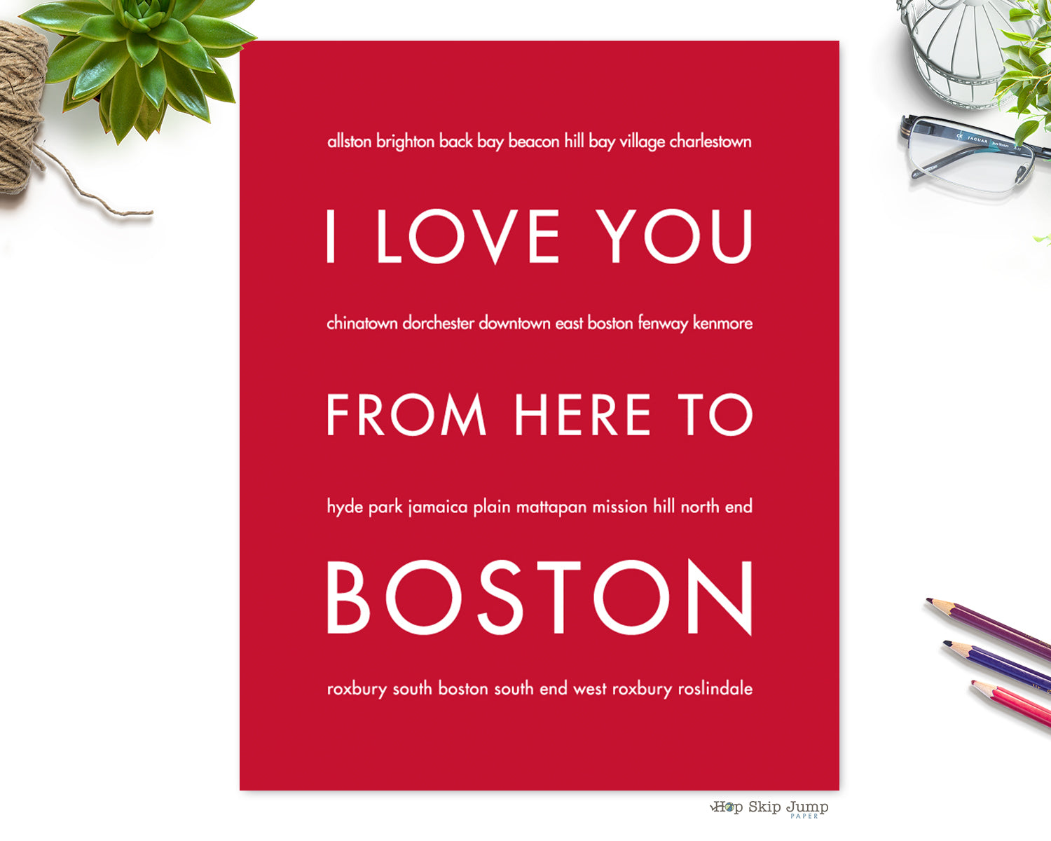 BOSTON City Wall Art | Gift Idea | HopSkipJumpPaper