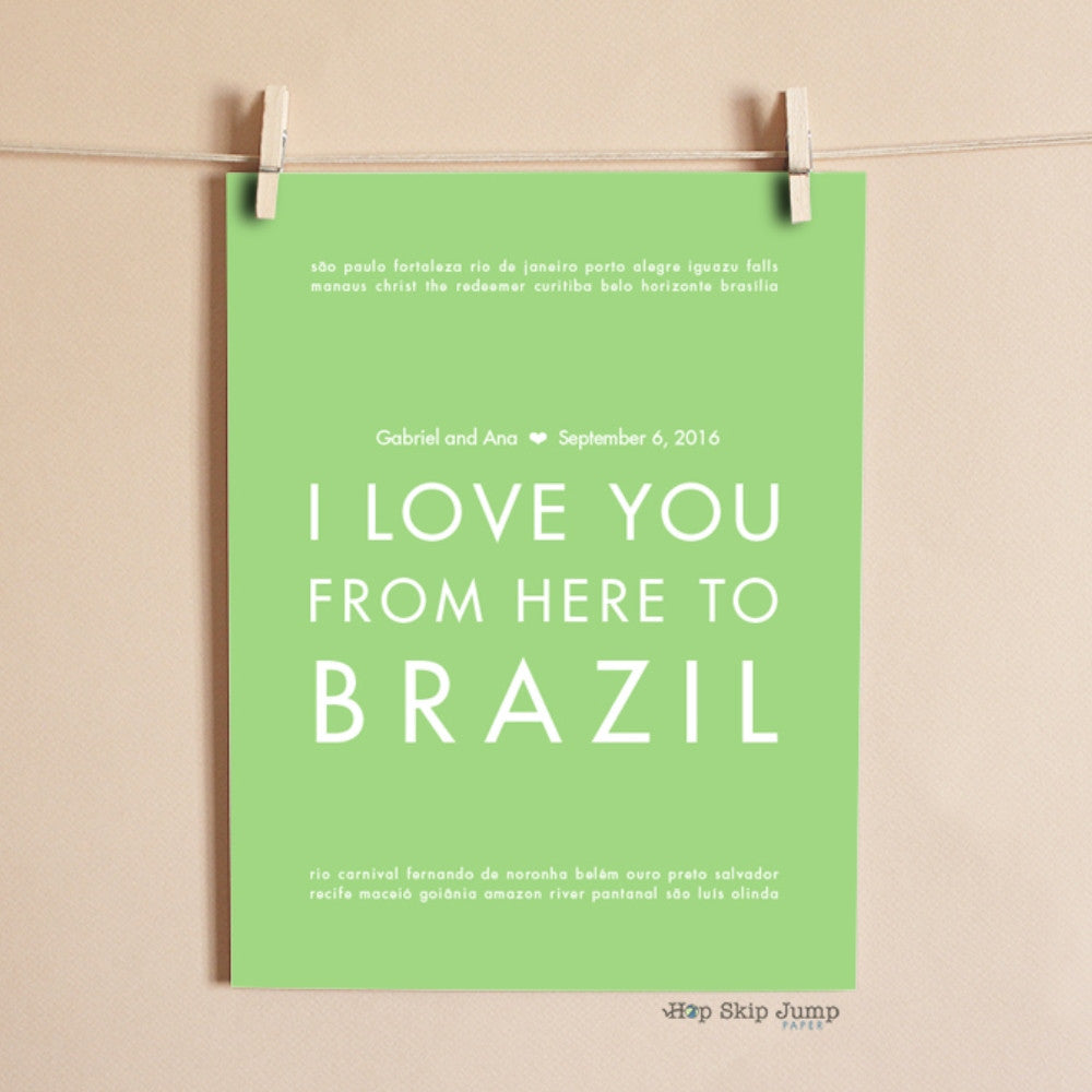 BRAZIL Custom Wedding Print | Gift Idea | HopSkipJumpPaper  - Shop Online