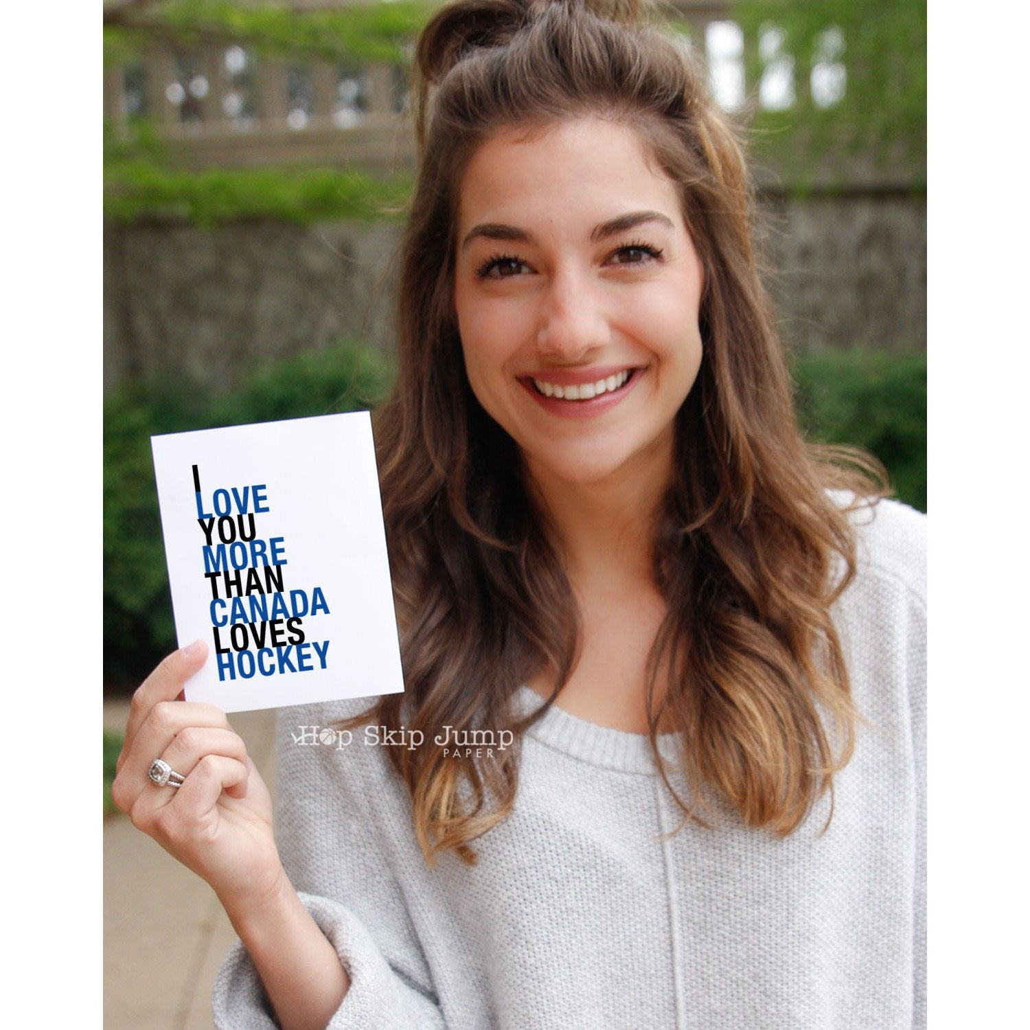 I Love You More Than Canada Loves Hockey, Blue and Black,  greeting card  - Shop Online