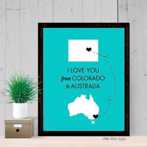 Long Distance Map Art - Any Two States - Travel Poster  - Shop Online