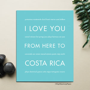 COSTA RICA Travel Print | Gift Idea | HopSkipJumpPaper  - Shop Online