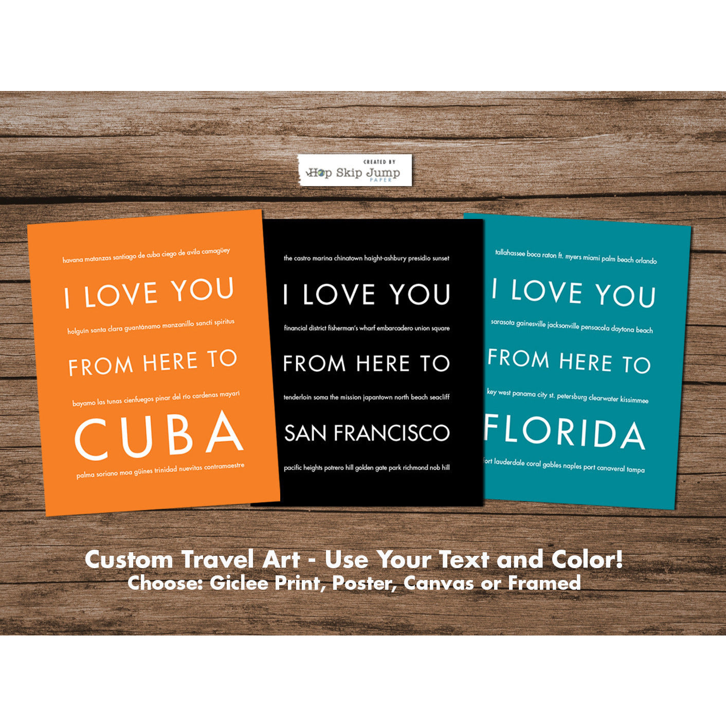 Custom Travel Art Print - Personalized Wall Decor  - Shop Online