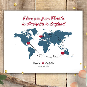 Personalized World Map Sign - Choose Locations  - Shop Online