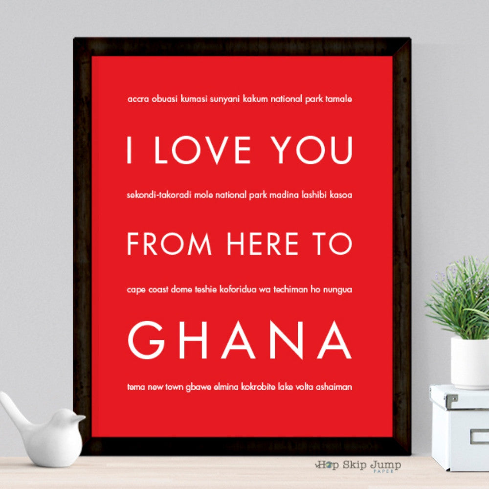 GHANA Travel Art Print | Gift Idea | HopSkipJumpPaper  - Shop Online