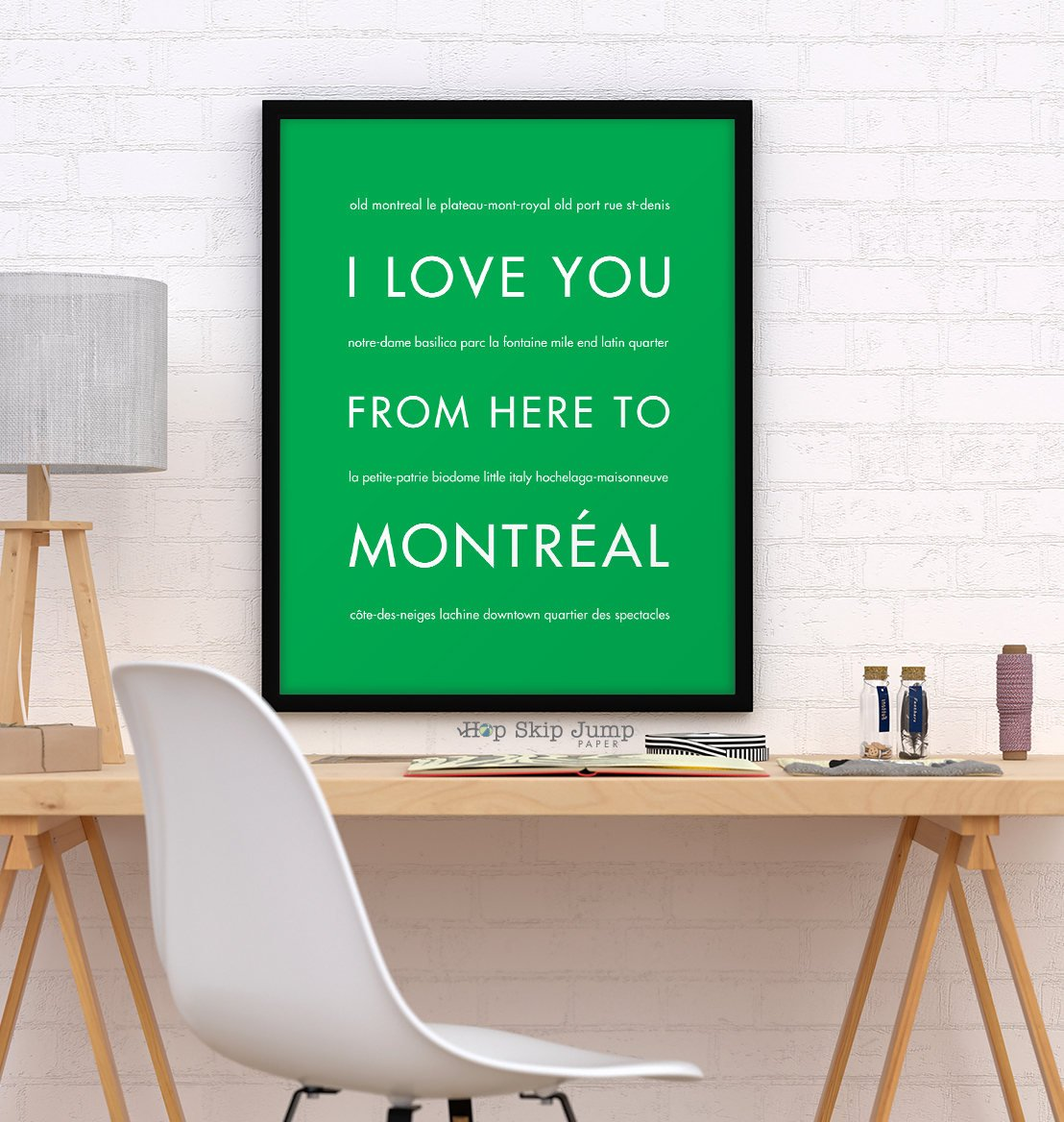 Montreal Canada Art, Canada Gift, Travel Poster, I Love You From Here To MONTREAL, Shown in Bright Green