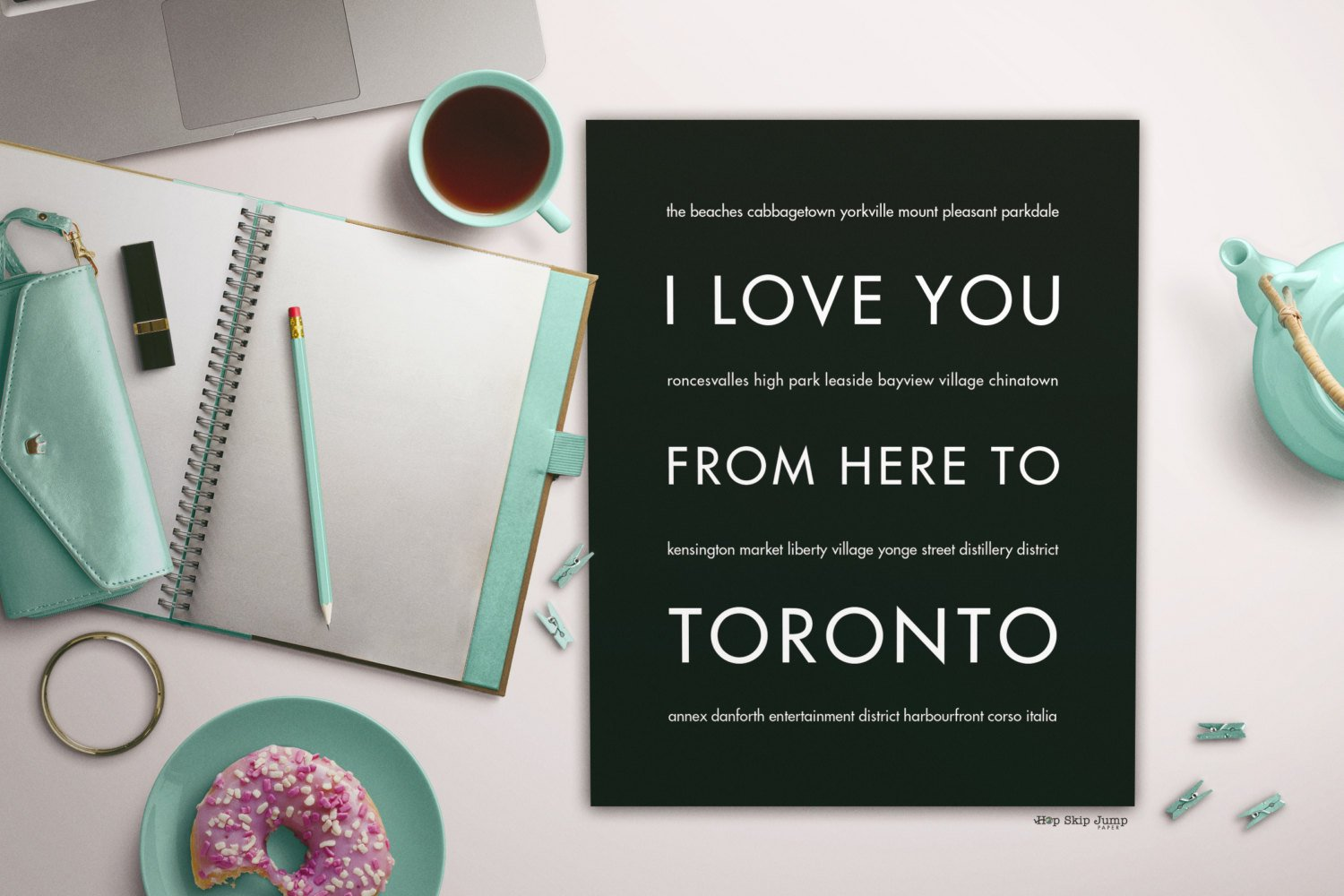 Toronto Poster, Canadian Home Decor, Canada Love, I Love You From Here To TORONTO Travel Poster, Many Colors Sizes Available
