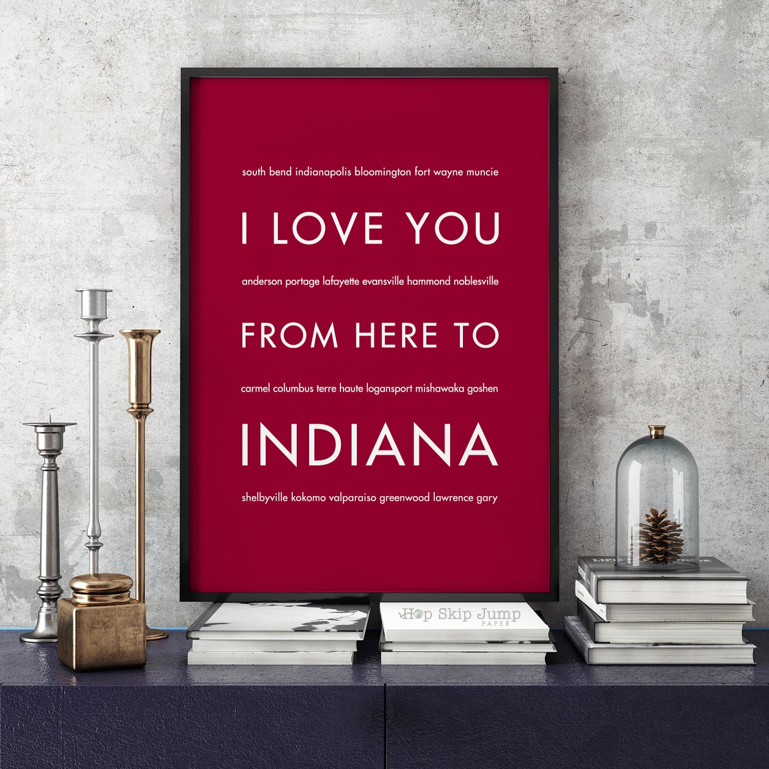 INDIANA State Art Print | Gift Idea | HopSkipJumpPaper