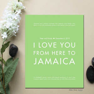 JAMAICA Custom Wedding Art Print | Gift Idea | HopSkipJumpPaper  - Shop Online