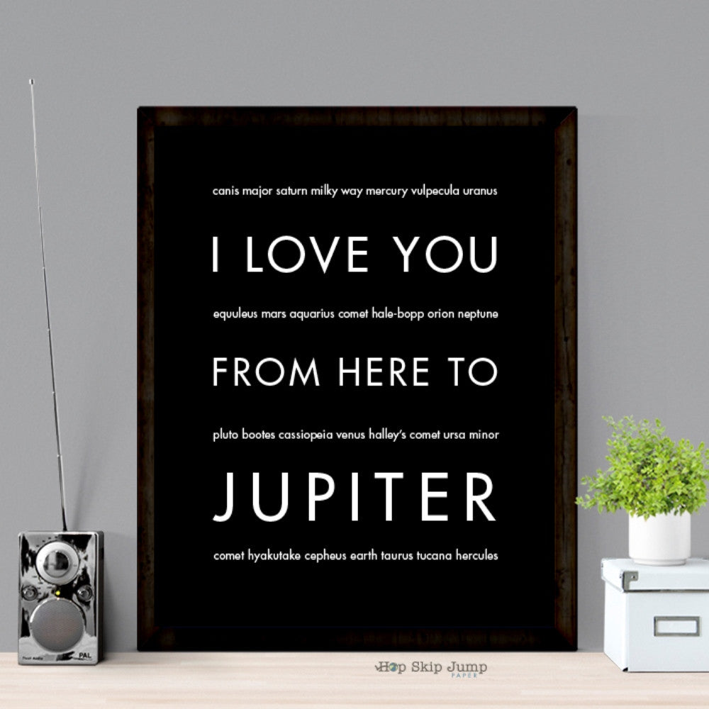 I Love You From Here To JUPITER art print  - Shop Online