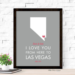 Personalized Las Vegas State Map Travel Poster  - Shop Online