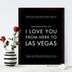 LAS VEGAS personalized wedding date art print, bride groom gift idea  - Shop Online
