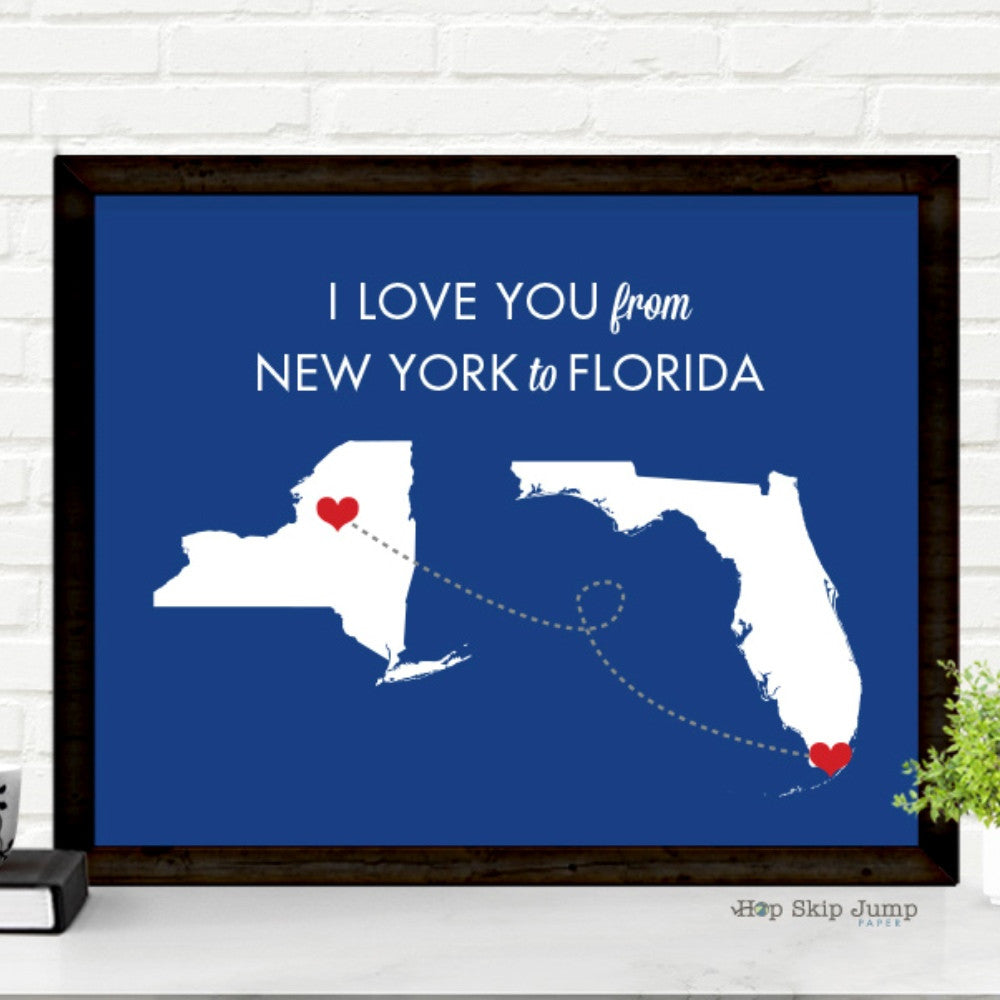 Personalized Map Art - Any Two States - Travel Poster  - Shop Online