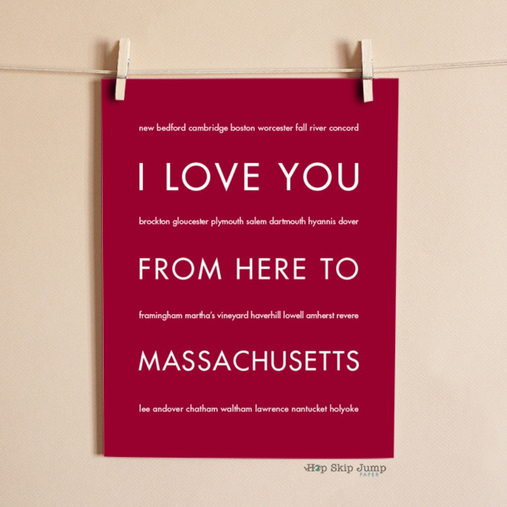 MASSACHUSETTS State Home Decor | Gift Idea | HopSkipJumpPaper  - Shop Online