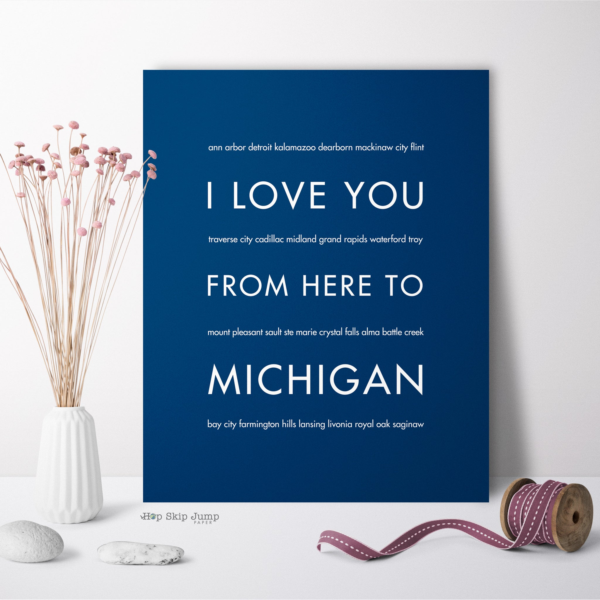 MICHIGAN State Home Decor | Gift Idea | HopSkipJumpPaper