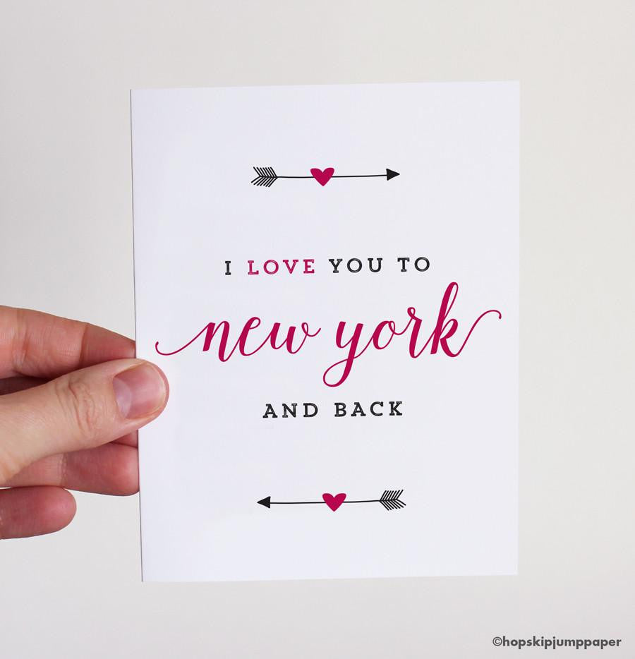 I Love You To New York And Back Greeting Card Hopskipjumppaper