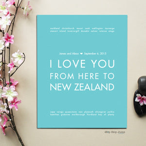 NEW ZEALAND personalized wedding art print  - Shop Online